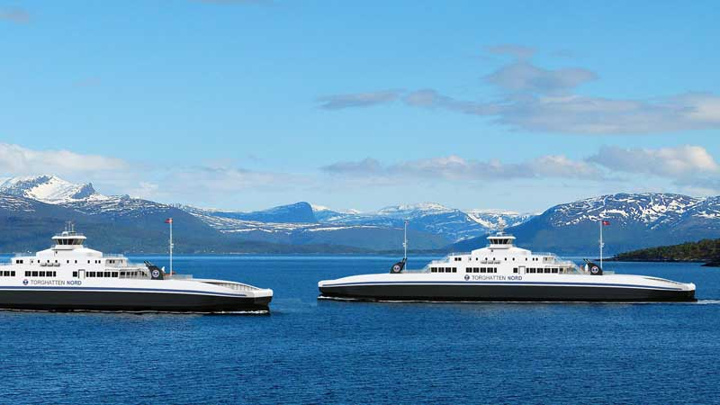 Vard skal bygge to nye LNG-ferger for Torghatten